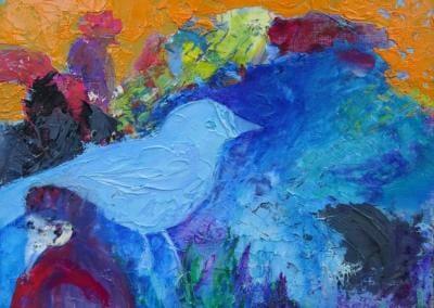 Blauer Vogel - Öl auf Leinplatte 24 x 30 cm 2021