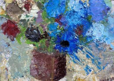 Blaue Blumen - Öl auf Leinplatte 24x30 cm 2020